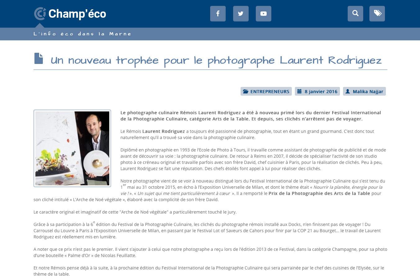 Le photographe Laurent Rodriguez à nouveau récompensé