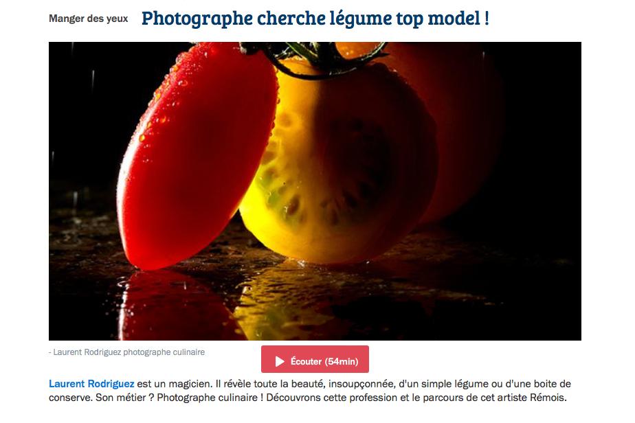 Interview FRANCE BLEU de Laurent Rodriguez Photographe Culinaire